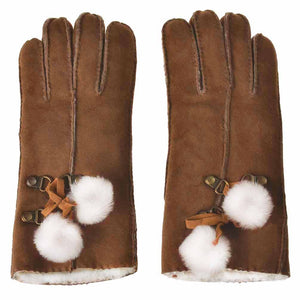 YISEVEN Women's Merino Lambskin Shearling Leather Gloves Furry Balls