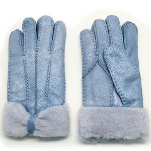 Women's Rugged Shearling Leather Gloves Three Points