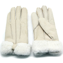 Load image into Gallery viewer, YISEVEN Womens Winter Sheepskin Shearling Leather Gloves Mittens Wing Cuffs
