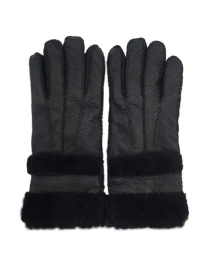 Women's Rugged sheepskin Shearling Leather Gloves Fur Cuff