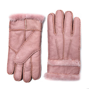 YISEVEN Womens Winter Sheepskin Shearling Leather Gloves Wool Lined Furry Cuffs