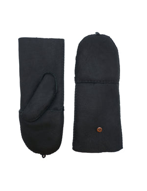 YISEVEN Women's Merino Sheepskin Winter Leather Gloves Flip Fingerless Mitten