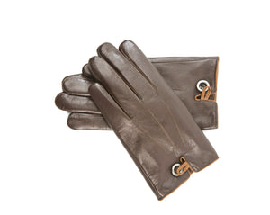 YISEVEN Winter Men's Lambskin Leather Gloves Warm Fleece Fur