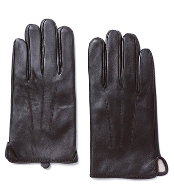 YISEVEN Men's Touchscreen Warm Fur Lined Lambskin Leather Gloves Snug Cuffs