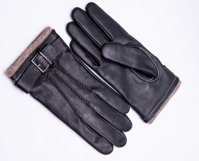 Men's Cashmere Lined Touchscreen Lambskin Leather Gloves