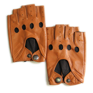 Men's Fingerless Lambskin Leather Gloves