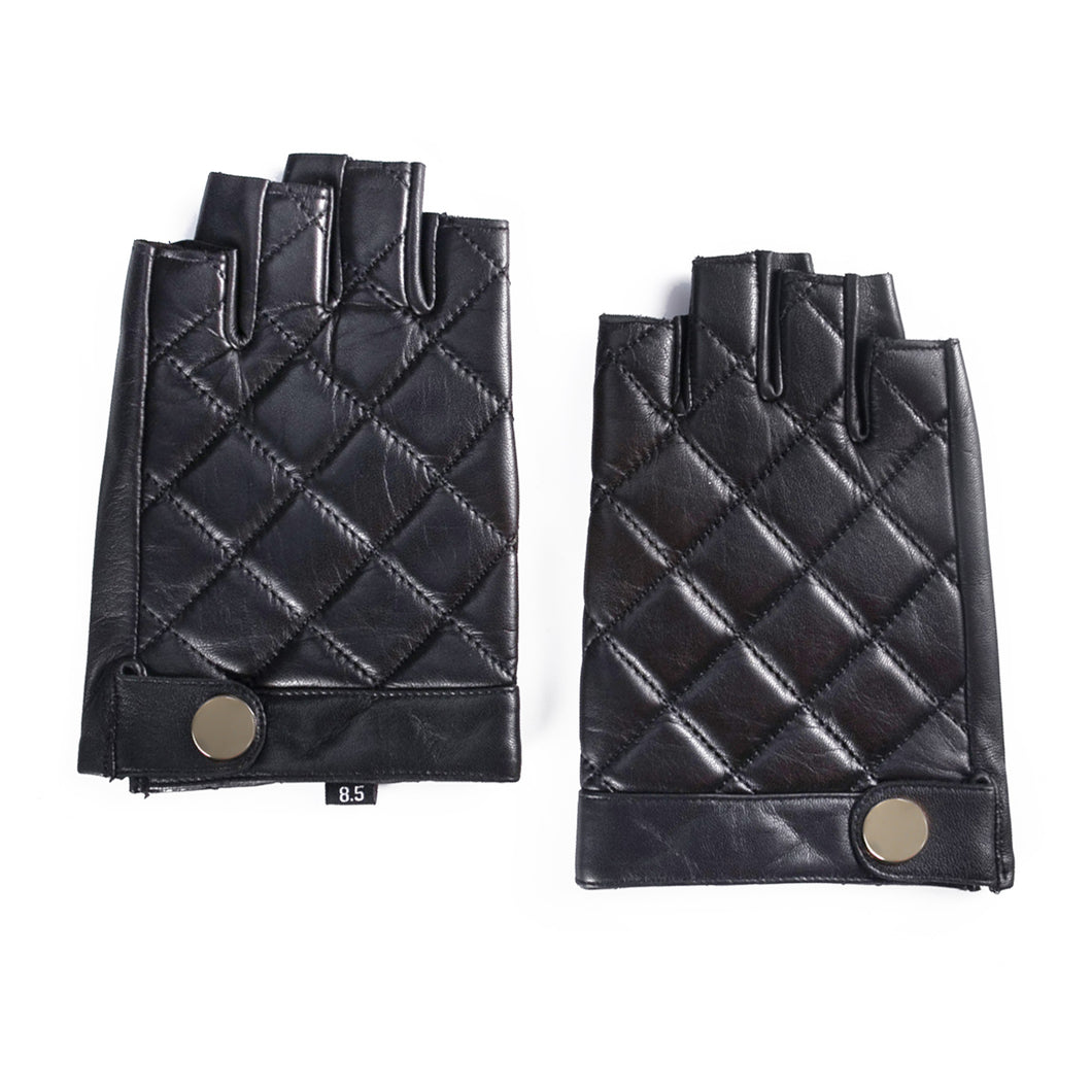 YISEVEN Men's Fingerless Lambskin Smooth Leather Gloves