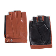 Load image into Gallery viewer, Men's Fingerless Lambskin Leather Gloves Three Points