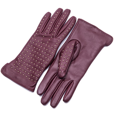 YISEVEN Womens Touchscreen Lambskin Leather Gloves Cashmere Lined Quilted Rivet