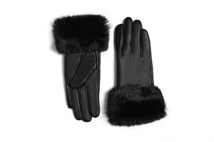 YISEVEN Women's Touchscreen Lambskin Leather Gloves Fur Cuff