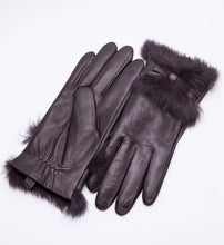 Load image into Gallery viewer, YISEVEN Women's Elegant Lambskin Leather Gloves Rabbit Fur