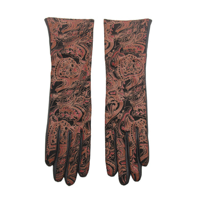 YISEVEN Womens Winter Sheepskin Leather Gloves with Wool Lined Geometric Floral