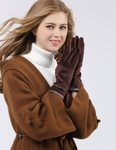 YISEVEN Women's Pleuche Velvet Ladies Winter Accessories Gloves