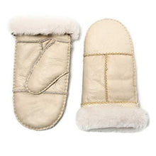 Load image into Gallery viewer, YISEVEN Womens Winter Sheepskin Shearling Leather Mittens Wool Lined Herringbone