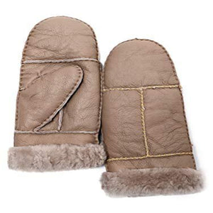 YISEVEN Womens Winter Sheepskin Shearling Leather Mittens Wool Lined Herringbone