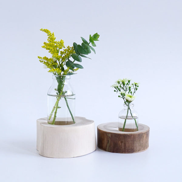 Round Flower Vase (Natural Wood)