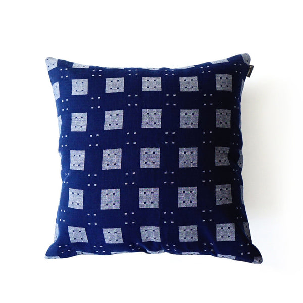 Blue & Grey Squares Cushion Nº1