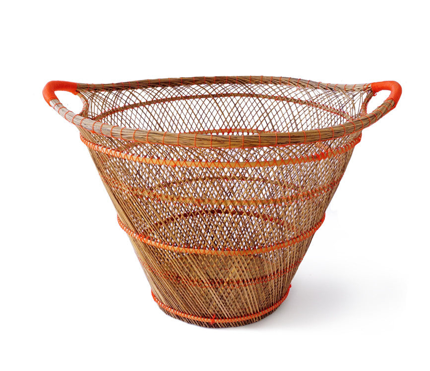 Bamboo & Rattan Basket (Red)