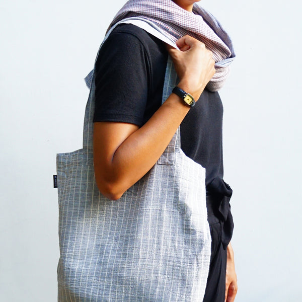 Shopping Bag Blue-Grey Lines