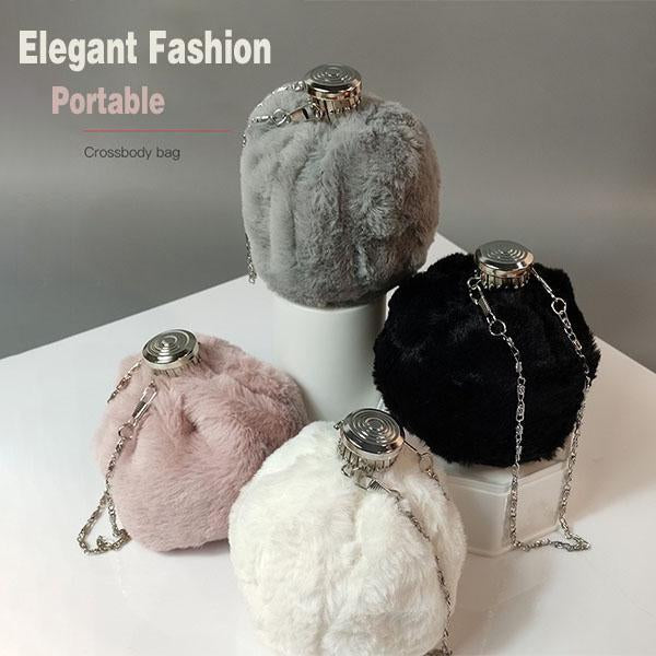 Women Portable Plush Bucket Bag
