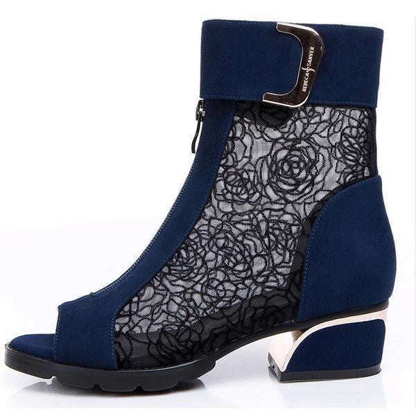 Sexy Open Toe Lace Ankle Boots