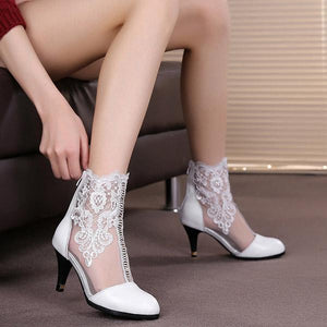 Stitching Lace Stiletto Heel Boots(1 Pair)