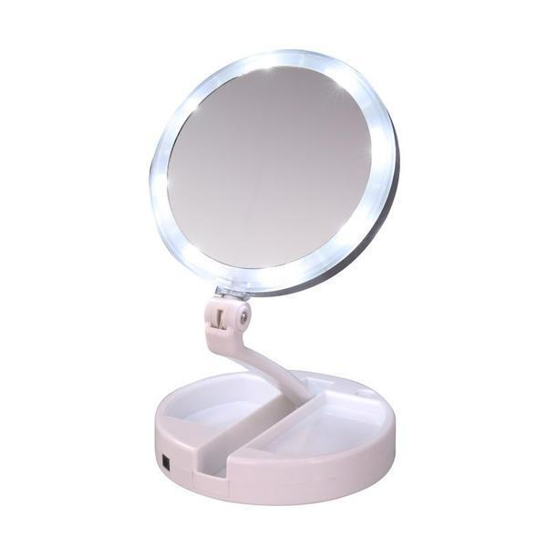 12x Led Lighted Folding Makeup Mirror