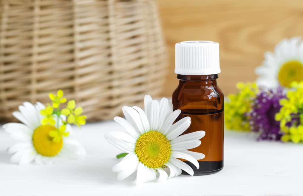 Small bottle of essential chamomile oil
