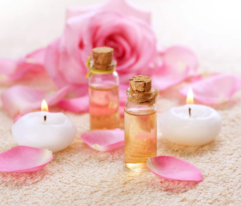 Bottles of Essential Oil for Aromatherapy. Rose oil