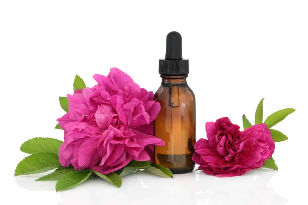 Rose flowers with aromatherapy essential oil