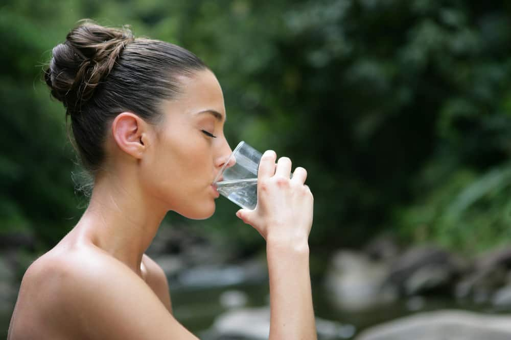 water cure therapy brunette drinking water