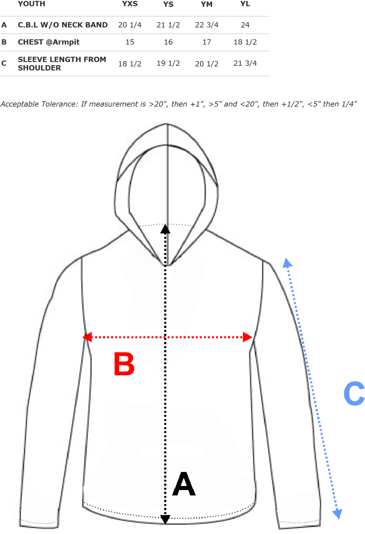 Performance Long Sleeve Hoodie Size Chart