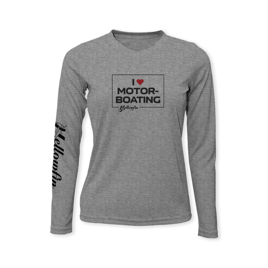 """I Love Motor-Boating"" Performance Ladies Long Sleeve T-Shirt"