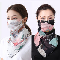 Women Chiffon Mask Scarf Face Wraps Floral Print Lady Silk Neck Scarves Foulard Bandana Summer Sun Masks Anti-dust Protect