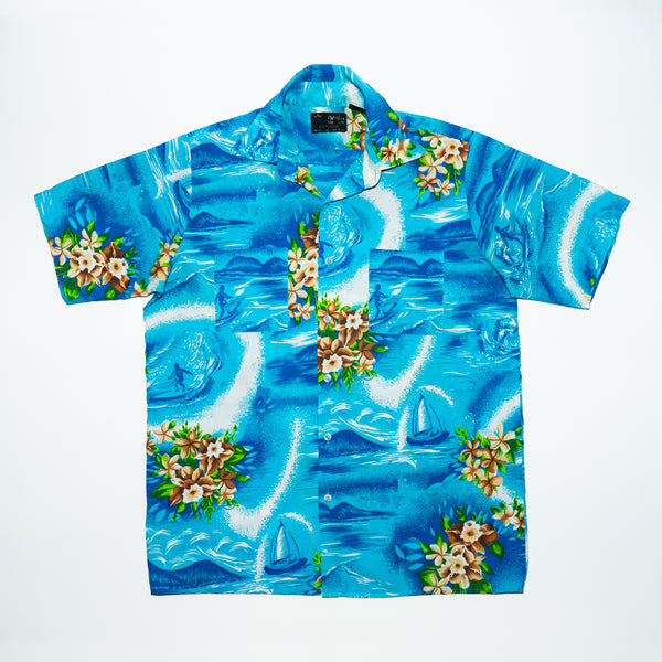 Vintage Blue Surfing Boat Print Aloha Shirt M size