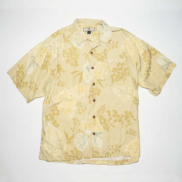 Vintage Tommy Bahama Beige Background  Areca Palm Leaves Hawaiian Shirt