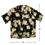 Islander Print Black Honolulu Palm trees Shirt XL size
