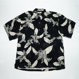 Vintage Tommy Bahama Black Leaves Print Shirt Coconut Button