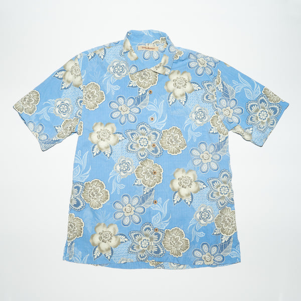 Vintage Tommy Bahama Sky Blue Flowers Shirt