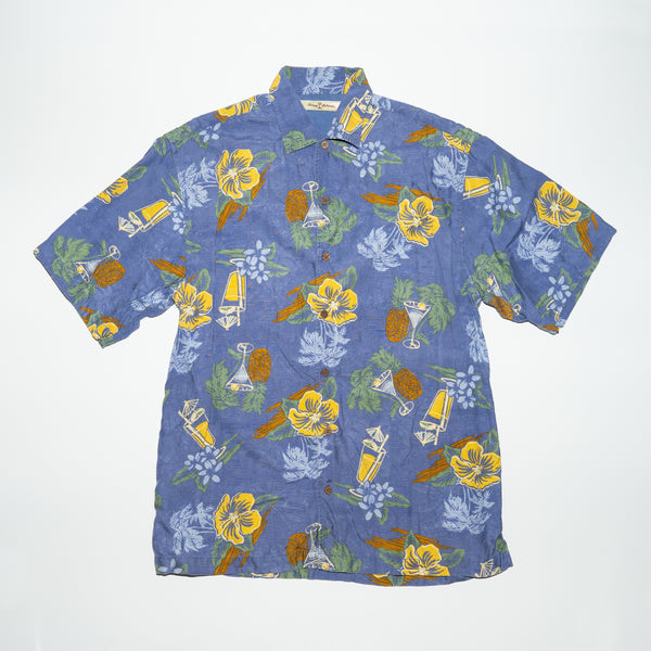 Vintage Tommy Bahama Yellow Hibiscus Cocktail Glasses Print Shirt