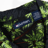 Beautiful Puritan Hawaiian bright florescent palm tree shirt L size