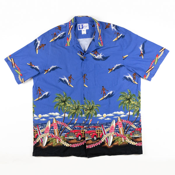 Vintage 1980s RJC Made in USA Surfboard guy and Car Shirts Fabulous design Aloha Shirt XL size