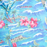 1990s Vintage Beautiful Print of beach from 90s scene in Hawaii  Aloha Shirt L size