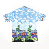 1990s Vintage Beautiful Print Hawaiian Car and boats Aloha Shirt XXL size