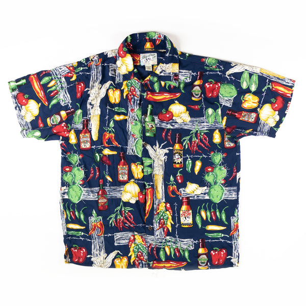 Vintage Big Dogs 1990s Hawaiian Beer Bar Print Aloha Shirt L size