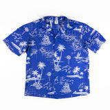 1960s Vintage Blue Hawaiian picturesque Royal Creations Aloha Shirt XL size  Made in Hawaii