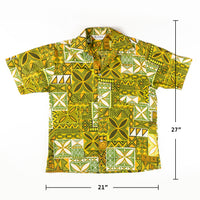 Vintage 1980s Kailu Tapa Tiki Traditional Hawaiian Shirt L size Made in Hawaii