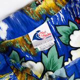 Vintage Beautiful Naui Nalo Print Hawaiian Shirt Made in Hawaii L sz