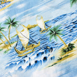 Vintage Shanon Marie Boat Print Aloha Shirt Made in Hawaii XL Sz