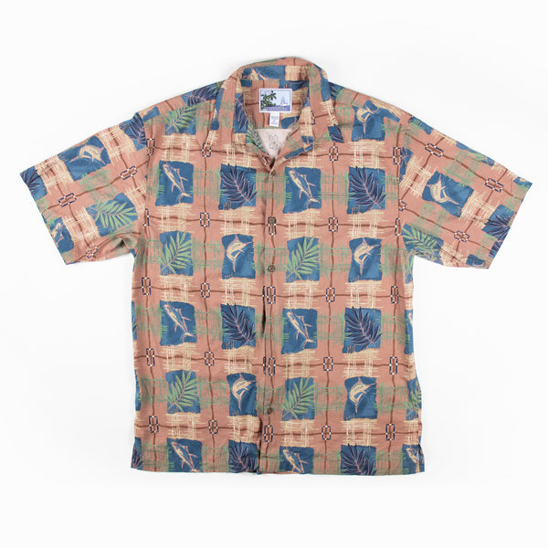 Vintage Traditional tapa tiki Aloha Shirt XL Sz